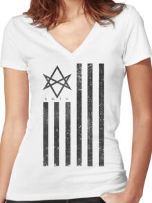 BMTH Flag - Music Band Women's Fitted V-Neck T-Shirt