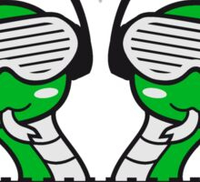 duo team buddies 2 snakes crew hang cool mischpult dj party clup celebrate disco music headphones glasses Sticker