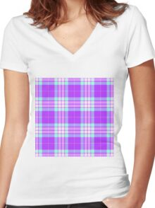 TARTAN-PINK 2 Women's Fitted V-Neck T-Shirt