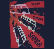 VW SAMBA SAMBA SAMBA Kombi Shirt - Red Kids Tee