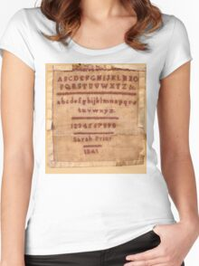 Sarah Prior's Sampler 1841 Photograph Women's Fitted Scoop T-Shirt