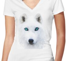 White Wolf in the snow Women's Fitted V-Neck T-Shirt