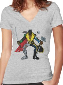 Mashups: Black Heroes Women's Fitted V-Neck T-Shirt