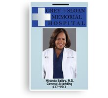 Miranda Bailey ID Badge  Canvas Print