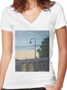 St Kilda Beach Women's Fitted V-Neck T-Shirt