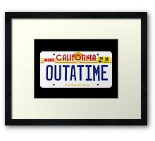 Outatime License Plate Framed Print