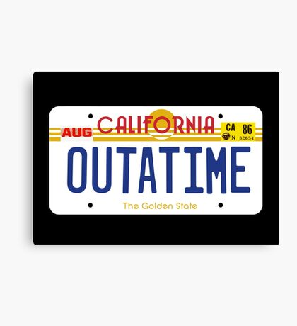 Outatime License Plate Canvas Print