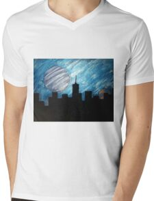 """City Lights"" Acrylic Painting Mens V-Neck T-Shirt"