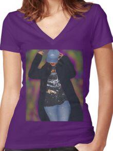 the rihanna nebula Women's Fitted V-Neck T-Shirt