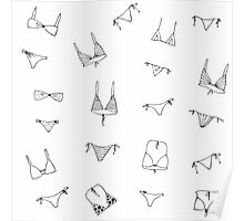 Swimming suit pattern monochrome Poster