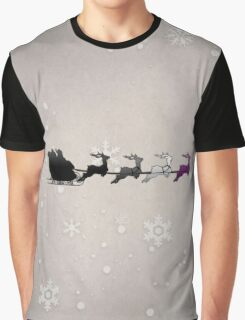 Santa Sleigh with Asexual Reindeer Graphic T-Shirt