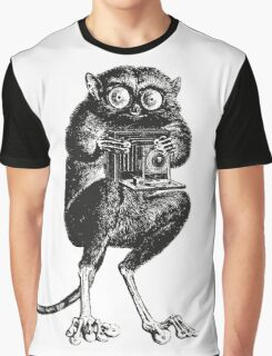 Say Cheese! | Tarsier with Vintage Camera Graphic T-Shirt