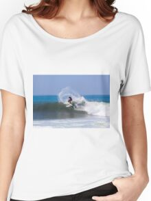 Surfing the waved of the Pacific ocen. Photographed in El Tunco, El Salvador  Women's Relaxed Fit T-Shirt