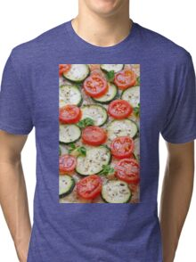 Veggie background with zucchini and fresh cherry tomatoes Tri-blend T-Shirt