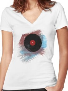 Vinyl Record - Modern Vinyl Records Grunge Design - Tshirt and more Women's Fitted V-Neck T-Shirt