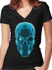 Gamer Skull BLUE TECH Women's Fitted V-Neck T-Shirt