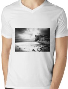 Atop the cliff, a tower - Black and White Mens V-Neck T-Shirt