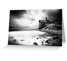 Atop the cliff, a tower - Black and White Greeting Card