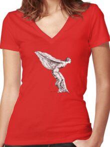 The Spirit of Ecstasy (Solid White, Smaller) Women's Fitted V-Neck T-Shirt