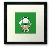 Super Mario, 1 UP Mushroom Framed Print