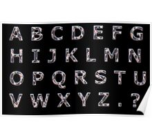 Alphabet Hammered Chrome Capitals Poster