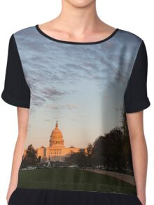 Soft Orange Glow - US Capitol and the National Mall at Sunset Chiffon Top