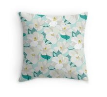 Magnolia Garden (mint) Throw Pillow