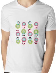 Pink and green matryoshka on black background Mens V-Neck T-Shirt