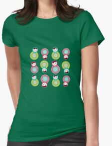 Pink and green matryoshka on black background Womens Fitted T-Shirt
