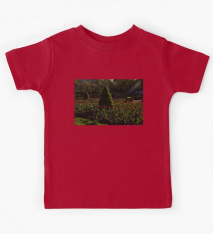 Downtown Victorian Garden - Red Tulips and Sunshine Kids Tee