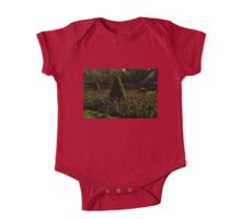 Downtown Victorian Garden - Red Tulips and Sunshine One Piece - Short Sleeve