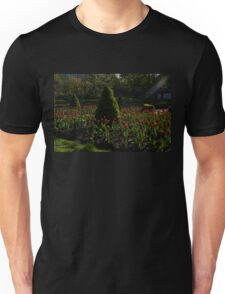 Downtown Victorian Garden - Red Tulips and Sunshine Unisex T-Shirt