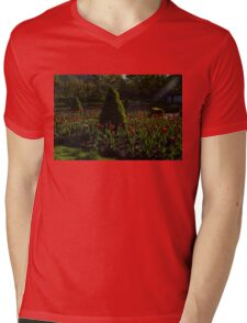 Downtown Victorian Garden - Red Tulips and Sunshine Mens V-Neck T-Shirt