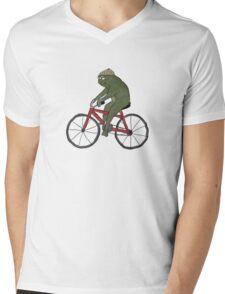 Gentleman Frog on a Bicycle Mens V-Neck T-Shirt