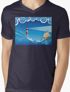 Lighthouse and Boat in the Sea 6 Mens V-Neck T-Shirt