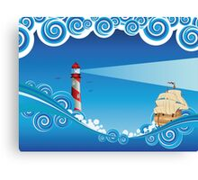 Lighthouse and Boat in the Sea 6 Canvas Print