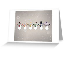 Rainbow Snowpeople Greeting Card