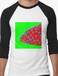 Strawberry Grouper Fish on green Men's Baseball ¾ T-Shirt