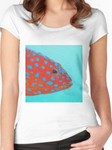 Strawberry Grouper Fish on turquoise Women's Fitted Scoop T-Shirt
