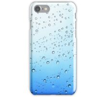 drops on a transparent surface with a blue to white gradient background iPhone Case/Skin