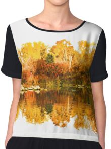 Impressions of Forests - Colorful Autumn Mirror Chiffon Top
