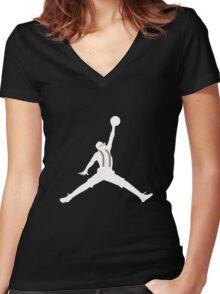 Steve Urkel Jumpman Logo Spoof 6 Women's Fitted V-Neck T-Shirt
