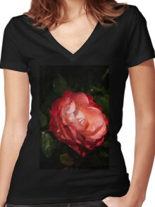 A Gift From My Mother's Garden - Chiaroscuro Rose Women's Fitted V-Neck T-Shirt