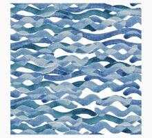 watercolor blue wave pattern Kids Tee