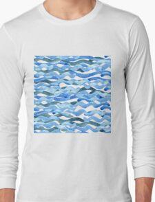 watercolor blue wave pattern Long Sleeve T-Shirt
