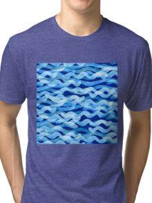 watercolor blue wave pattern Tri-blend T-Shirt