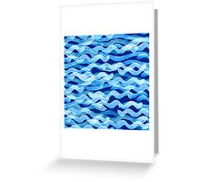 watercolor blue wave pattern Greeting Card