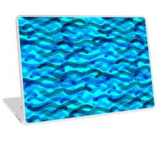 watercolor blue wave pattern Laptop Skin