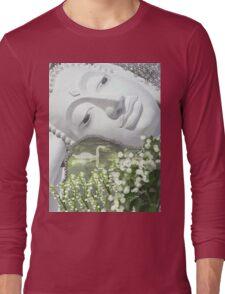 In the Garden - Quan Yin in White Long Sleeve T-Shirt