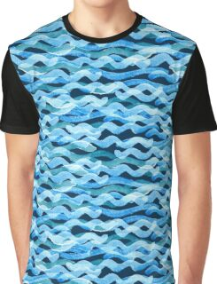 Abstract watercolor blue wave pattern, water texture sketch background. Drawing by hand illustration Graphic T-Shirt